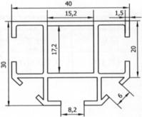 ТАТИ Алюминиевый профиль СП 15-3, хлыстом, без покраски