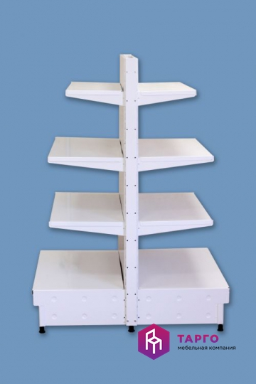 Стеллаж металлический двухсторонний с полками, высота 1,5м