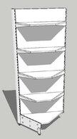 Стеллаж металлический с полками угловой 750х750/580х2000 (4х400)