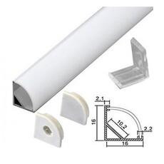 Профиль угловой для светодиодной ленты с рассеивателем, заглушками и клипсами (тип 5)