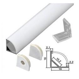 Профиль угловой для светодиодной ленты с рассеивателем, заглушками и клипсами, 16х16х2000 (тип 5)