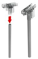 Т-держатель с фиксаторами, прозрачный, длина 52 мм