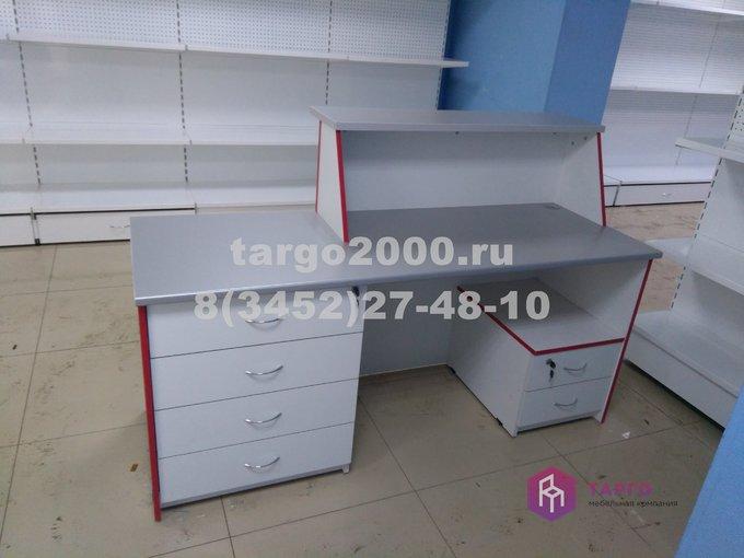 Стойка продавца (ЛДСП белый и металлик)