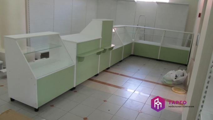Прилавки и витрины (цвет салатовый и белый)